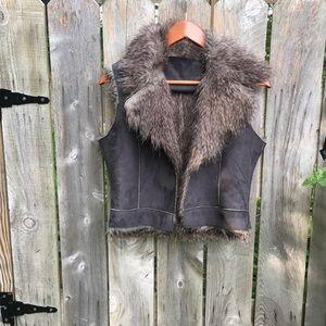 Faux fur suede vest